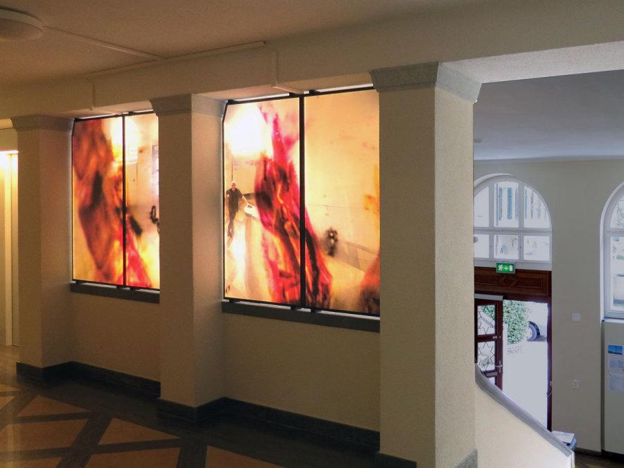 LED-Flächenlicht - Hinterleuchtung Glasdruck des Künstlers Michael Thürheimer